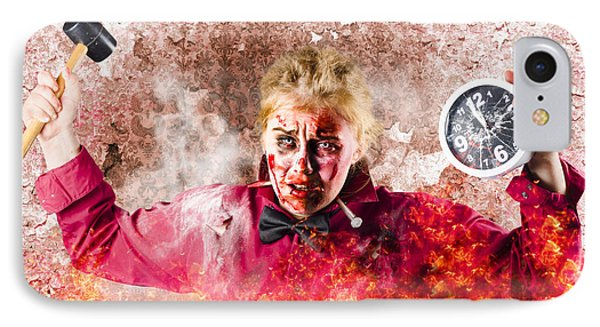 Burning Girl Holding Clock And Hammer. Apocalypse Now IPhone Case by Jorgo Photography - Wall Art Gallery
