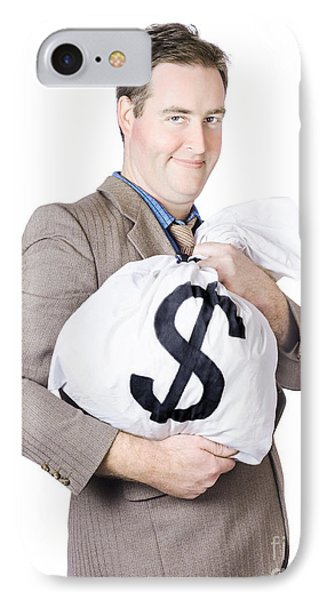 Business Man Holding Money Bag With Dollar Sign IPhone Case