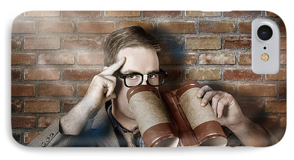 Business Spy Looking Through Innovative Binoculars IPhone Case by Jorgo Photography - Wall Art Gallery