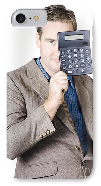 Businessman Holding Calculator IPhone Case by Jorgo Photography - Wall Art Gallery