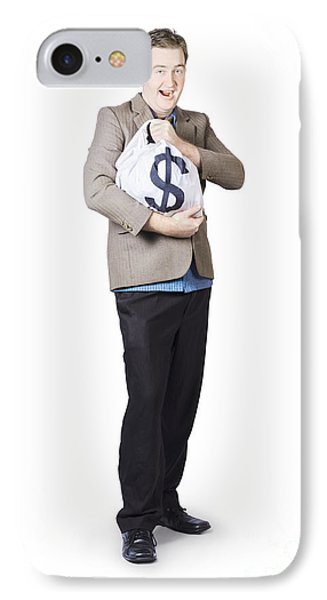 Businessman Holding Moneybag IPhone Case