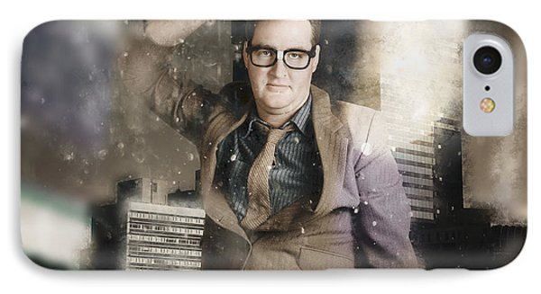 Businessman Reflecting On Morale And Ethics IPhone Case by Jorgo Photography - Wall Art Gallery