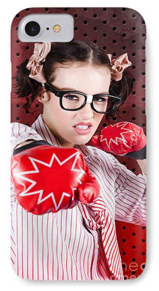Businesswoman Boxing The Competition With Strategy IPhone Case by Jorgo Photography - Wall Art Gallery