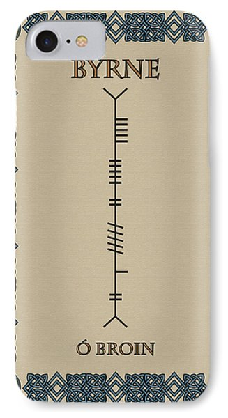 IPhone Case featuring the digital art Byrne Written In Ogham by Ireland Calling
