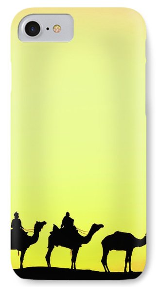 Camels And Camel Driver Silhouetted IPhone Case by Adam Jones