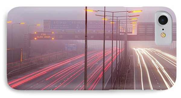 Cars Driving On The M1 Motorway IPhone Case