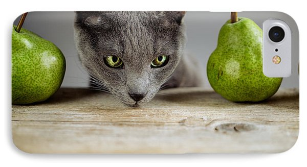 Cat And Pears IPhone Case by Nailia Schwarz