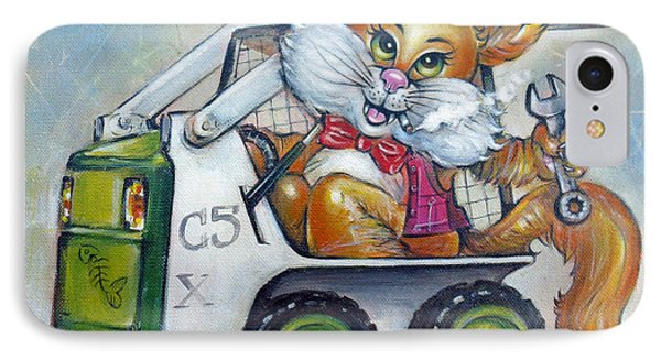 IPhone Case featuring the painting Cat C5x 190312 by Selena Boron