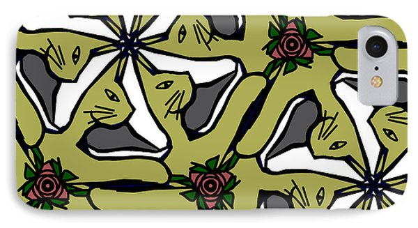 IPhone Case featuring the digital art Cat / Shoe / Rose by Elizabeth McTaggart