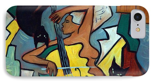 Cellist With Cats Phone Case by Valerie Vescovi
