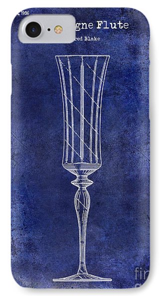 Champagne Flute Patent Drawing Blue IPhone Case by Jon Neidert