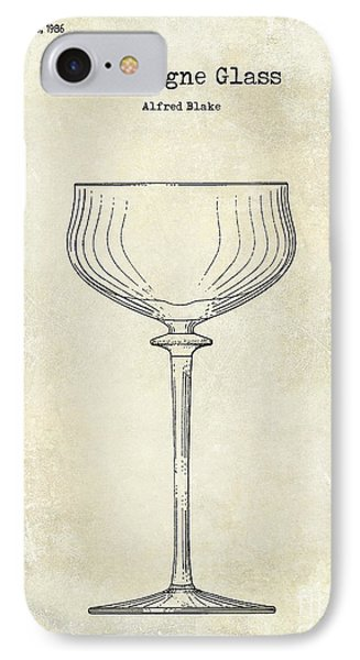 Champagne Glass Patent Drawing  IPhone Case by Jon Neidert