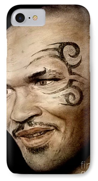 IPhone Case featuring the drawing Champion Boxer And Actor Mike Tyson by Jim Fitzpatrick