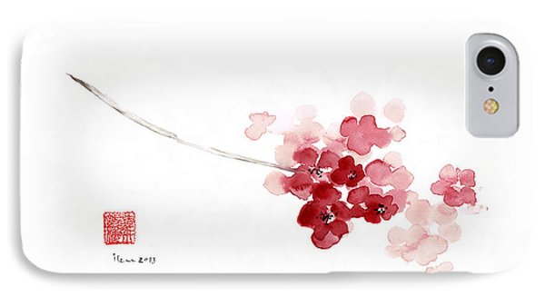 Cherry Blossom Sakura Pink Flower Flowers Delicate Branch Brown Watercolor Painting IPhone Case by Johana Szmerdt