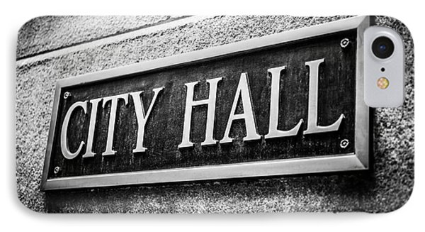Chicago City Hall Sign In Black And White Phone Case by Paul Velgos