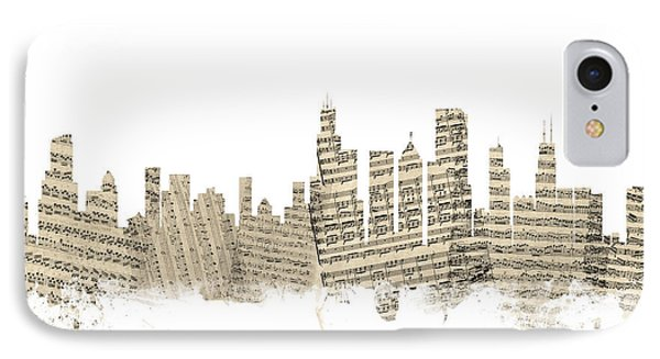 Chicago Illinois Skyline Sheet Music Cityscape IPhone 7 Case by Michael Tompsett