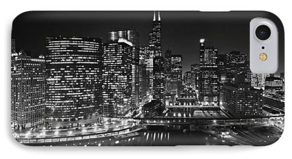 Chicago River Panorama B W IPhone Case by Steve Gadomski
