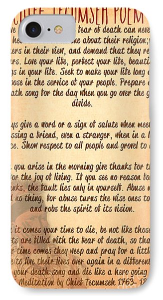 Chief Tecumseh Poem - Live Your Life IPhone Case