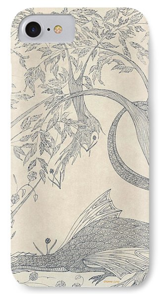 IPhone Case featuring the drawing China The Dragon by Dianne Levy