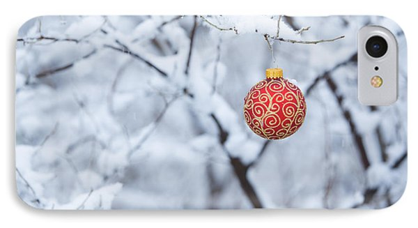 Christmas Ornament In The Snow IPhone Case by Diane Diederich