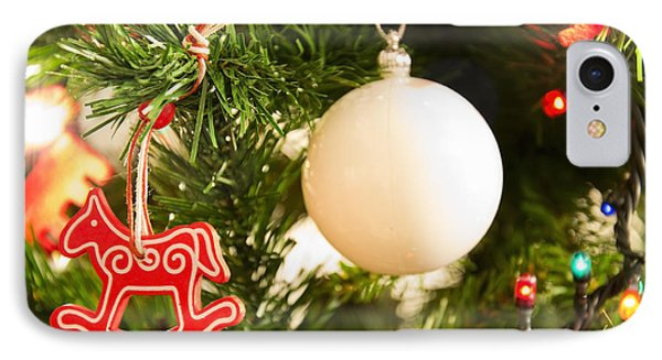 Christmas Tree Red Horse And White Ball IPhone Case