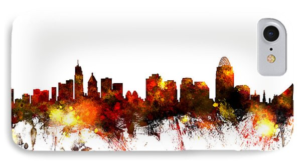 Cincinnati Ohio Skyline IPhone Case by Michael Tompsett