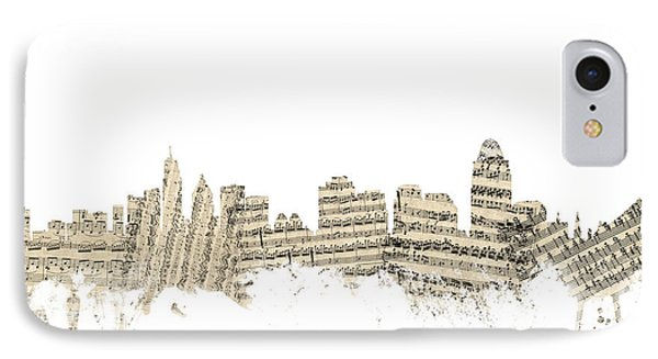 Cincinnati Ohio Skyline Sheet Music Cityscape IPhone Case by Michael Tompsett