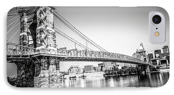 Cincinnati Roebling Bridge Black And White Picture IPhone Case by Paul Velgos