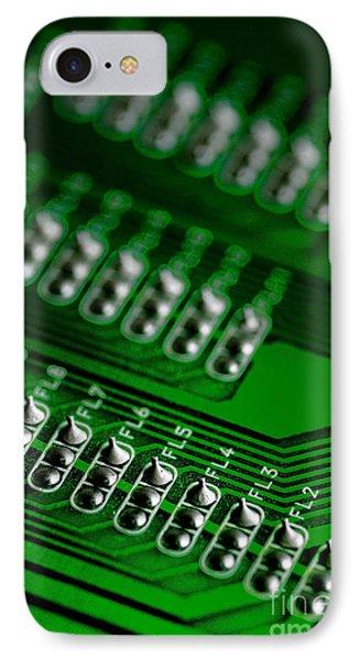 Circuit Board Bokeh Phone Case by Amy Cicconi