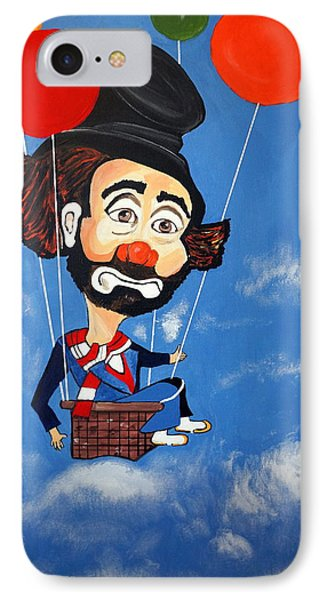 IPhone Case featuring the painting Clown Up Up And Away by Nora Shepley