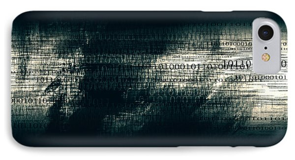 Binary Code - Dark Abstract Office Art IPhone Case by Modern Art Prints