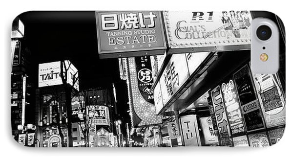 Commercial Signboards Lit Up At Night IPhone Case by Panoramic Images