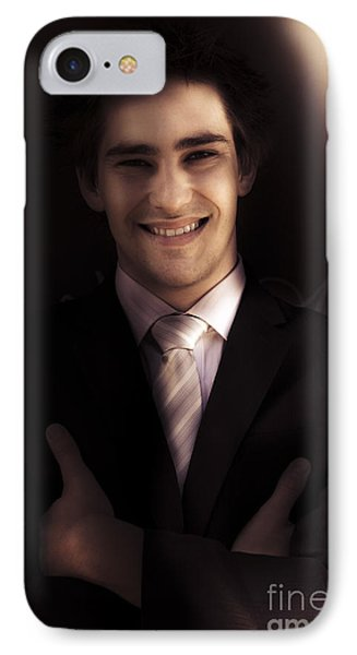 Confident Business Man Smiling In Darkness IPhone Case by Jorgo Photography - Wall Art Gallery