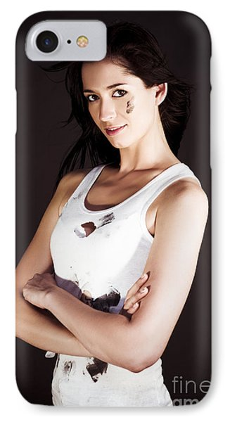 Confident Female Tradesman Gets Job Done IPhone Case by Jorgo Photography - Wall Art Gallery