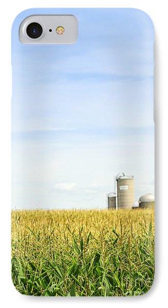 Corn Field With Silos IPhone Case by Elena Elisseeva