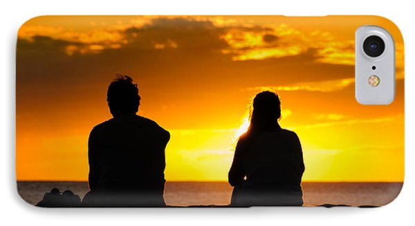 Couple Watching The Sunset On A Beach In Maui Hawaii Usa IPhone Case