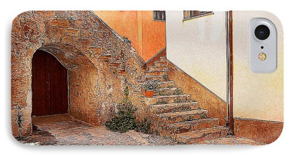 Courtyard Of Old House In The Ancient Village Of Cefalu Phone Case by Stefano Senise