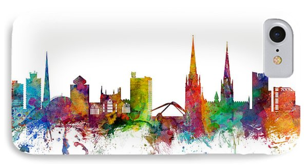 Coventry England Skyline IPhone Case by Michael Tompsett