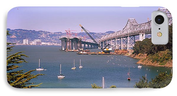 Cranes At A Bridge Construction Site IPhone Case by Panoramic Images