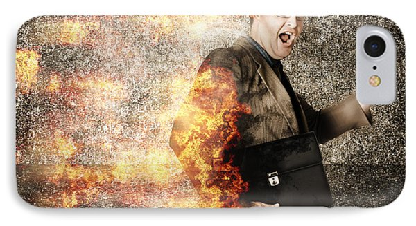 Crazy Businessman Running Engulfed In Fire. Late IPhone Case by Jorgo Photography - Wall Art Gallery