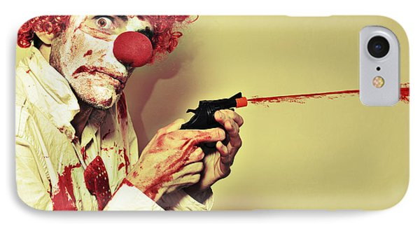 Creepy Manic Clown Shooting Blood From Cap Gun IPhone Case