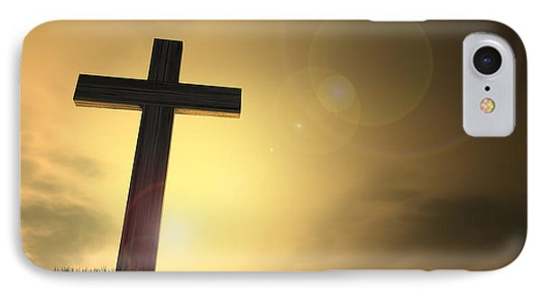 Crucifix On A Hill At Dawn IPhone Case by Allan Swart