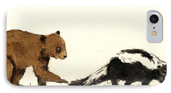 Cub Bear Playing With Skunk IPhone Case by Juan  Bosco