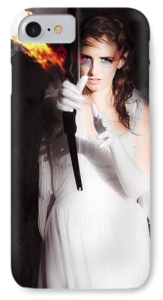 Cupid Angel Of Romance Setting Hearts On Fire IPhone Case by Jorgo Photography - Wall Art Gallery