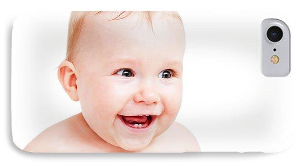 Cute Happy Baby Laughing On White Phone Case by Michal Bednarek