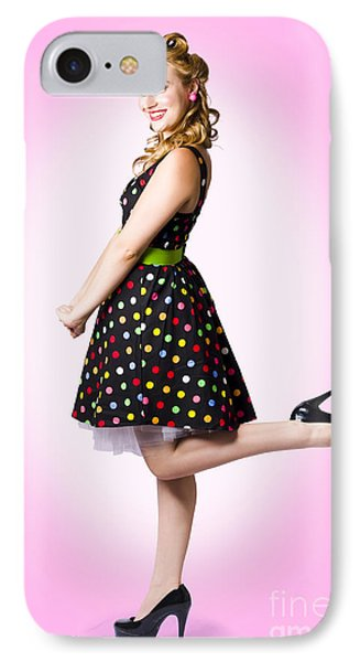 Cute Pin-up Style Fashion Model In Retro Dress IPhone Case