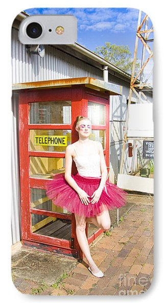 Dancer And Telephone Box IPhone Case by Jorgo Photography - Wall Art Gallery