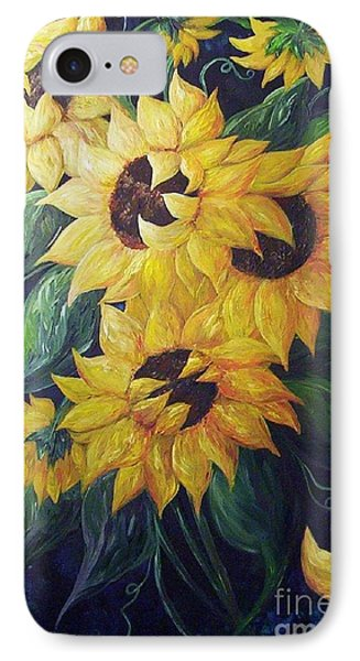 IPhone Case featuring the painting Dancing Sunflowers  by Eloise Schneider