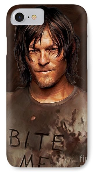 Daryl - Bite Me IPhone Case by Paul Tagliamonte