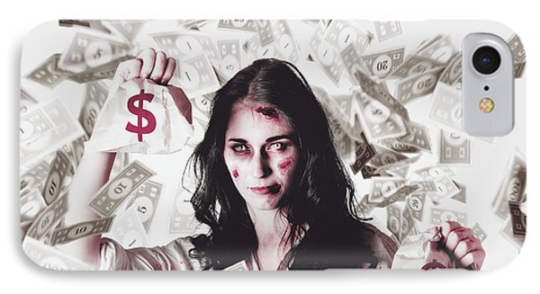 Dead Business Woman In Financial Crisis Debt IPhone Case